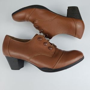 Montana Shoes - Montana Leather Oxford Ankle Boot Low Heel Size 9